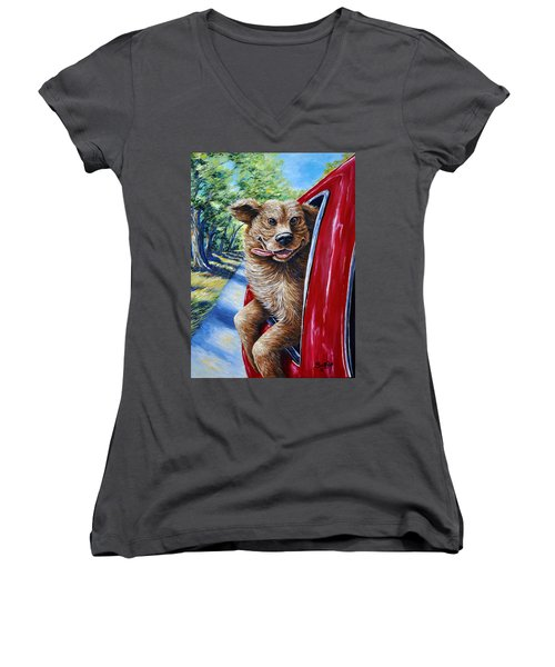 Dog...gone Happy Women's V-Neck T-Shirt (Junior Cut) by Gail Butler