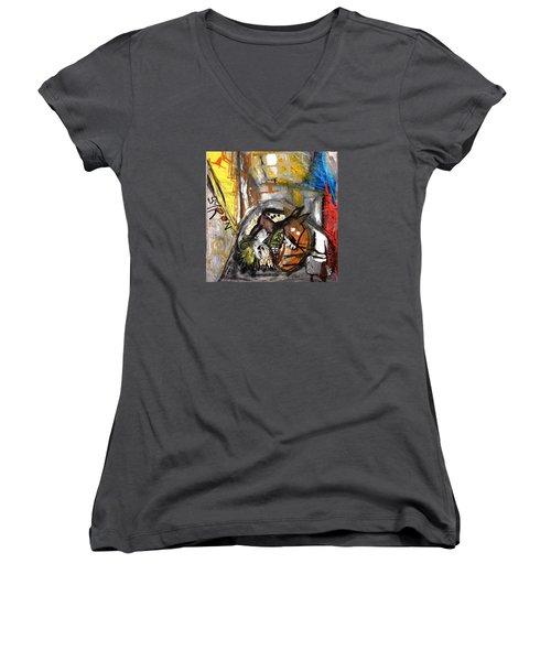 Dogs Dinner Women's V-Neck T-Shirt (Junior Cut) by Helen Syron