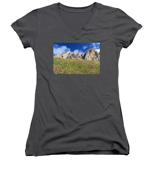 Women's V-Neck T-Shirt (Junior Cut) featuring the photograph Dolomiti - Flowered Meadow  by Antonio Scarpi