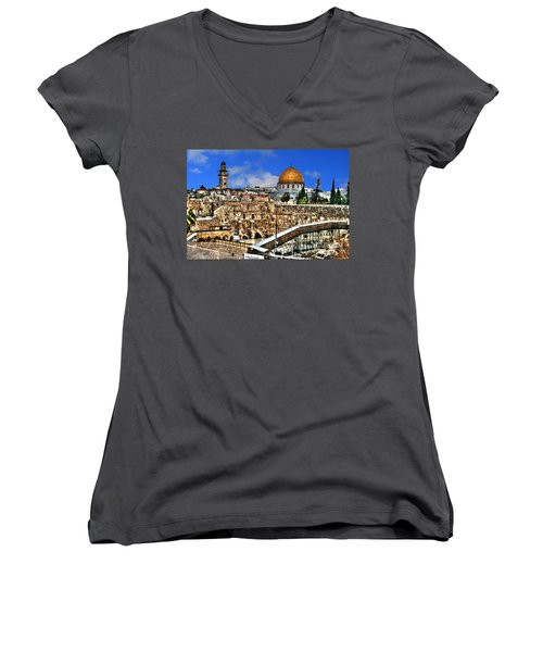 Women's V-Neck T-Shirt (Junior Cut) featuring the photograph Dome Of The Rock by Doc Braham