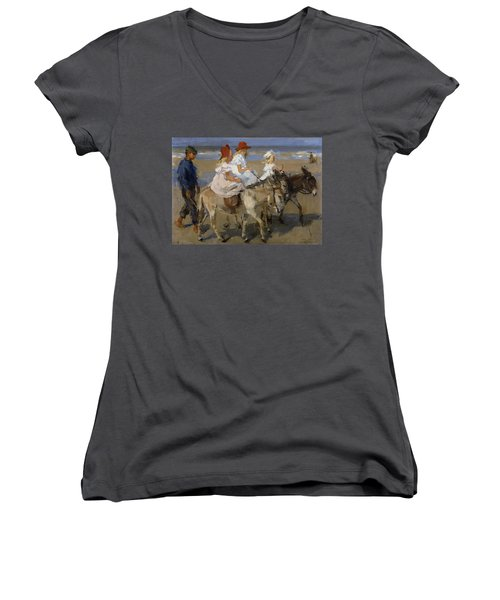 Donkey Rides Along The Beach Women's V-Neck (Athletic Fit)