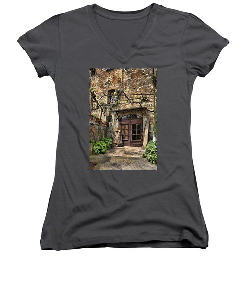 Women's V-Neck T-Shirt (Junior Cut) featuring the photograph Door Montepulciano Italy by Hugh Smith