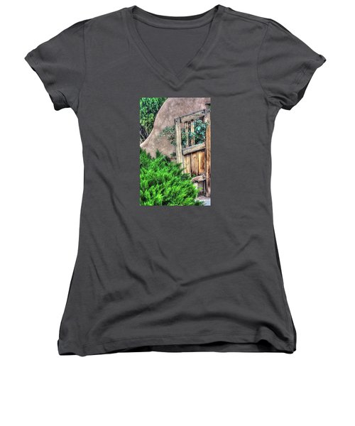 Door, Santuario De Chimayo Women's V-Neck T-Shirt (Junior Cut) by Lanita Williams