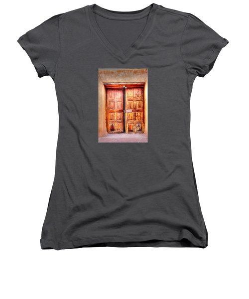 Doors To The Inner Santuario De Chimayo Women's V-Neck T-Shirt (Junior Cut) by Lanita Williams
