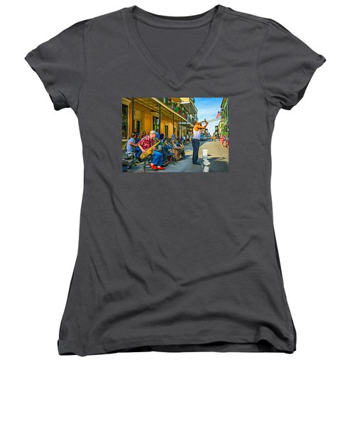 Doreen's Jazz New Orleans - Paint Women's V-Neck T-Shirt (Junior Cut) by Steve Harrington