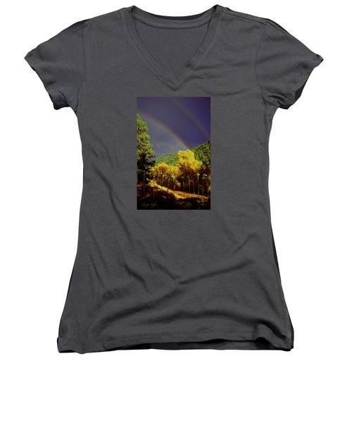 Double Rainbow Autumn Women's V-Neck T-Shirt