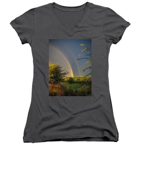 Double Rainbow Over County Clare Women's V-Neck