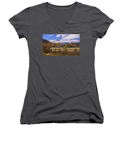 Double Rl Ranch Women's V-Neck T-Shirt (Junior Cut) by Priscilla Burgers