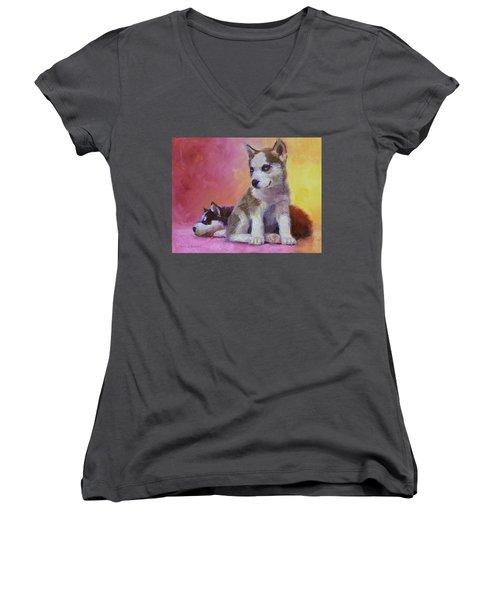 Double Trouble - Alaskan Husky Sled Dog Puppies Women's V-Neck