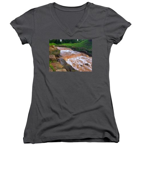 Women's V-Neck T-Shirt (Junior Cut) featuring the photograph Down A Creek by Chris Tarpening