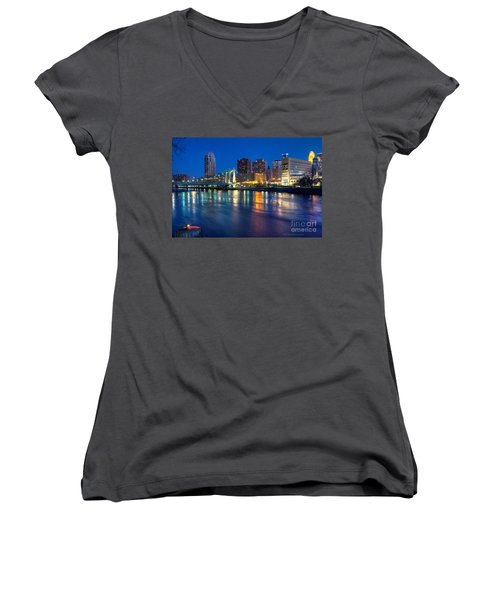 Downtown Minneapolis Skyline Hennepin Avenue Bridge Women's V-Neck (Athletic Fit)