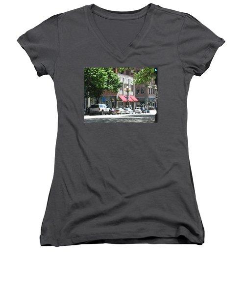 Downtown Neighborhood Women's V-Neck T-Shirt (Junior Cut) by David Trotter