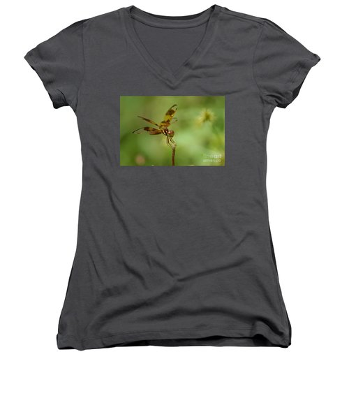 Women's V-Neck T-Shirt (Junior Cut) featuring the photograph Dragonfly 2 by Olga Hamilton