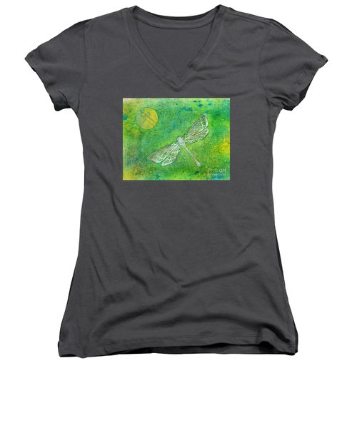 Dragonfly Women's V-Neck T-Shirt (Junior Cut) by Desiree Paquette