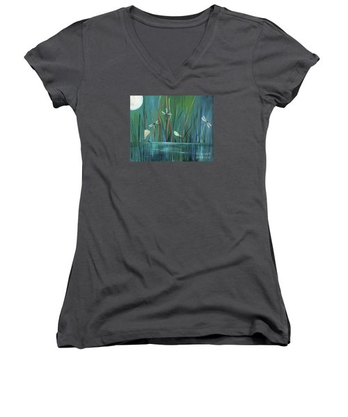 Dragonfly Diner Women's V-Neck T-Shirt (Junior Cut) by Carol Sweetwood