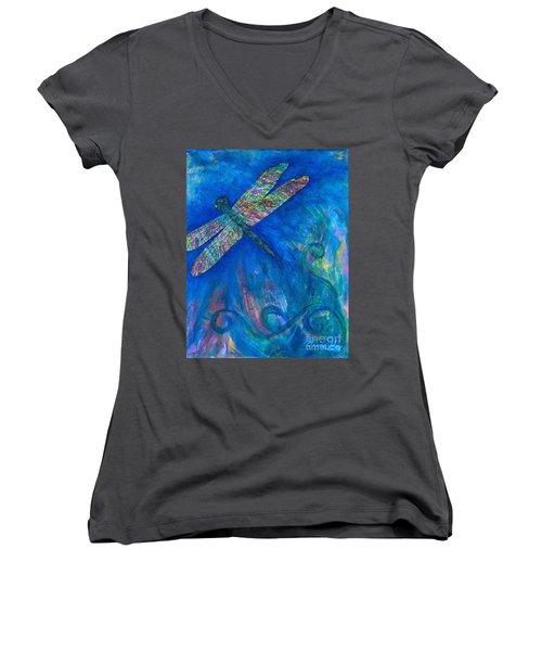 Dragonfly Flying High Women's V-Neck T-Shirt (Junior Cut) by Denise Hoag