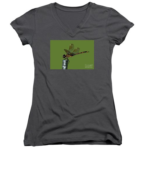 Women's V-Neck T-Shirt (Junior Cut) featuring the photograph Dragonfly by Meg Rousher