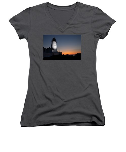 Dramatic Lighthouse Sunrise Women's V-Neck
