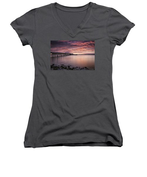 Drawbridge At Dusk Women's V-Neck T-Shirt