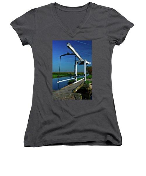 Drawbridge At Zaanse Schans Women's V-Neck T-Shirt (Junior Cut) by Jonah  Anderson