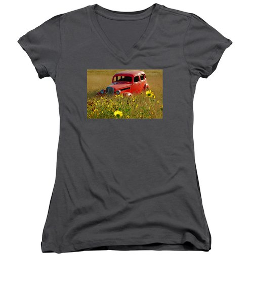 Women's V-Neck T-Shirt (Junior Cut) featuring the photograph Dream Left Behind by Leticia Latocki