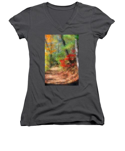 Dreaming Of Fall Women's V-Neck T-Shirt (Junior Cut) by Kristin Elmquist