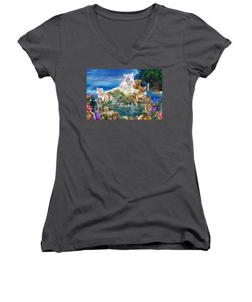 Dreaming Of Tigers  Variation  Women's V-Neck (Athletic Fit)