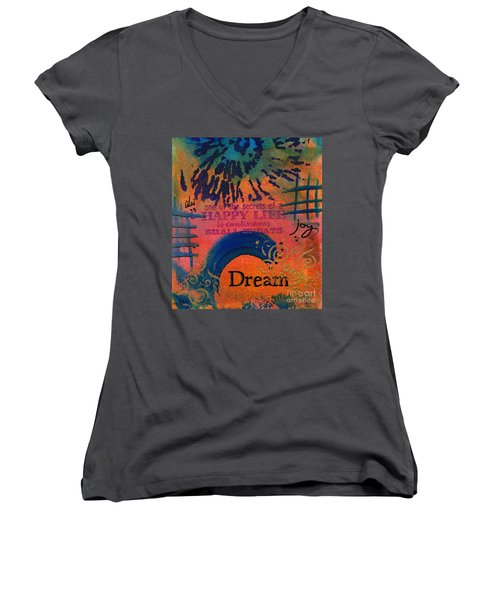 Dreams Of Joy Women's V-Neck T-Shirt (Junior Cut) by Angela L Walker