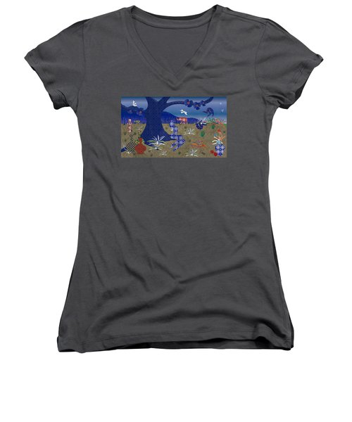 Dreamscape - Limited Edition  Of 30 Women's V-Neck T-Shirt (Junior Cut) by Gabriela Delgado