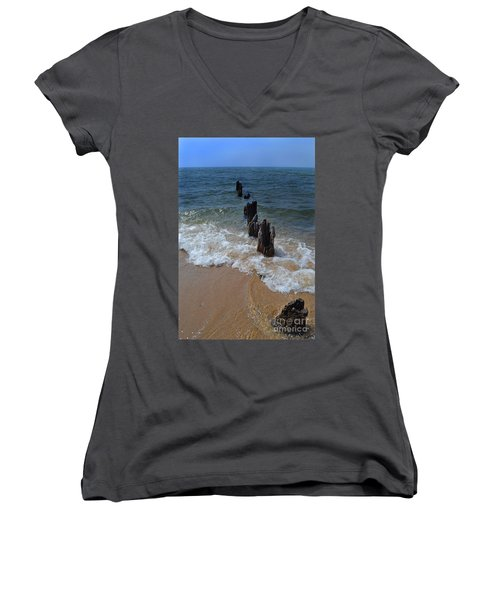Driftwood And Sea Foam Beach Women's V-Neck (Athletic Fit)