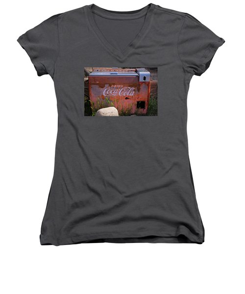 Drink Coca Cola Women's V-Neck T-Shirt (Junior Cut) by Lynn Sprowl