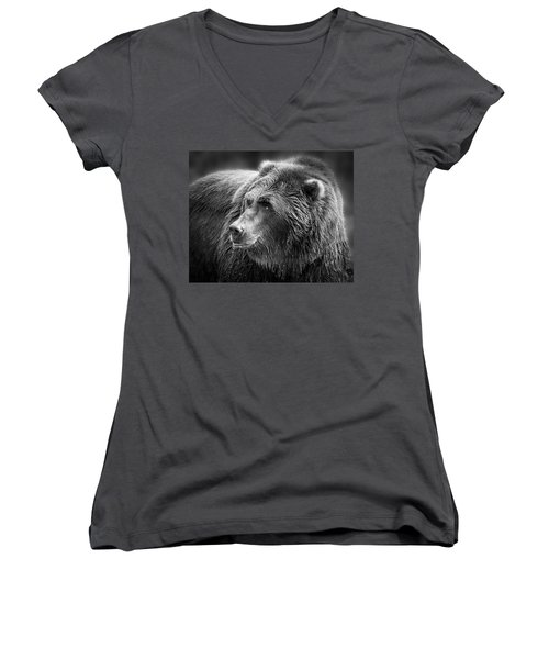 Drinking Grizzly Bear Black And White Women's V-Neck T-Shirt (Junior Cut) by Steve McKinzie