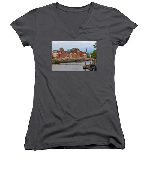 Dublin On The River Liffey Women's V-Neck T-Shirt (Junior Cut) by Mary Carol Story
