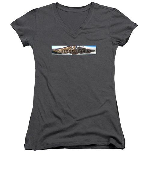 Women's V-Neck T-Shirt (Junior Cut) featuring the photograph Duesenberg  by Rebecca Davis