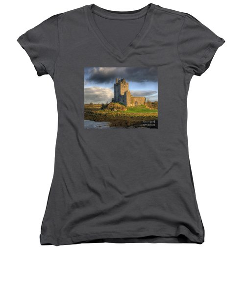 Dunguaire Castle With Dramatic Sky Kinvara Galway Ireland Women's V-Neck T-Shirt (Junior Cut) by Juli Scalzi