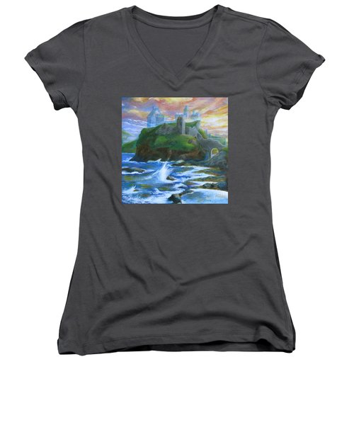 Dunscaith Castle - Shadows Of The Past Women's V-Neck T-Shirt (Junior Cut) by Samantha Geernaert