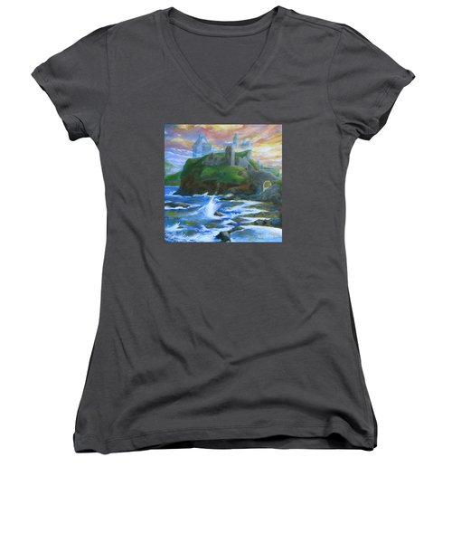 Dunscaith Castle - Shadows Of The Past Women's V-Neck (Athletic Fit)