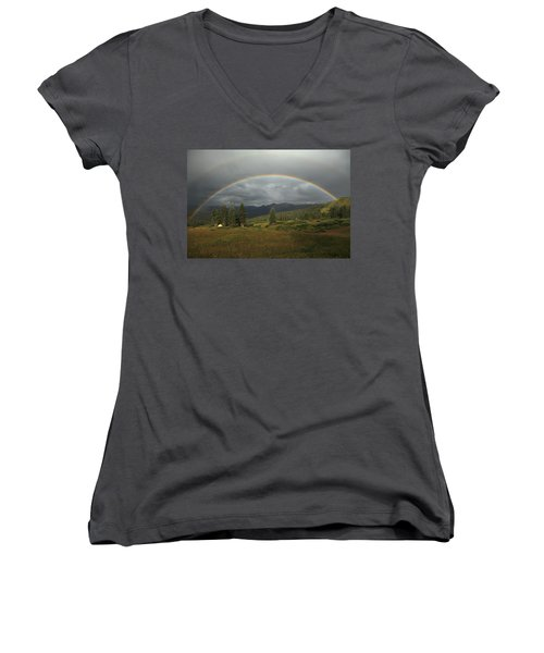 Durango Double Rainbow Women's V-Neck T-Shirt (Junior Cut) by Alan Vance Ley
