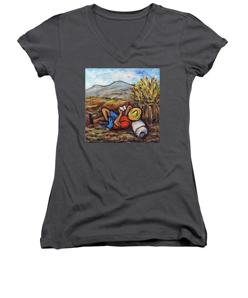 Women's V-Neck T-Shirt (Junior Cut) featuring the painting During The Break by Xueling Zou