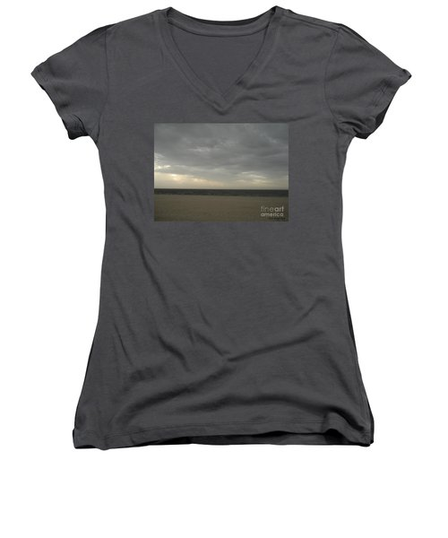 Dusk Beach Walk  Women's V-Neck T-Shirt (Junior Cut) by Joseph Baril