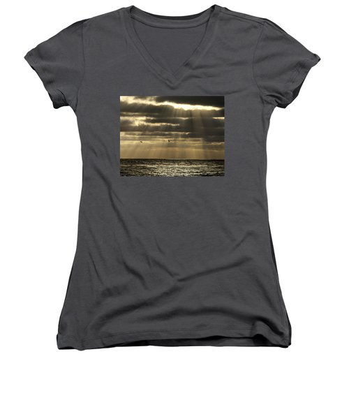 Dusk On Pacific Women's V-Neck T-Shirt (Junior Cut) by Joe Schofield