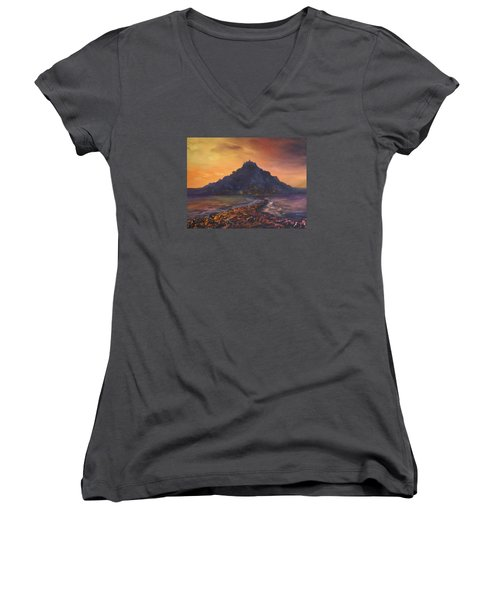 Women's V-Neck T-Shirt (Junior Cut) featuring the painting Dusk Over St Michaels Mount Cornwall by Jean Walker