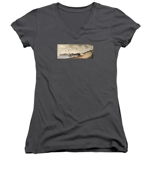 Women's V-Neck T-Shirt (Junior Cut) featuring the photograph Dusty Crossing by Liz Leyden