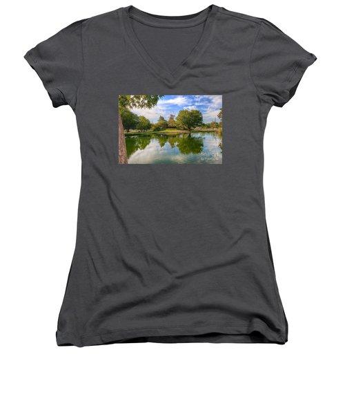 Dutch Mill  Women's V-Neck T-Shirt (Junior Cut) by Liane Wright