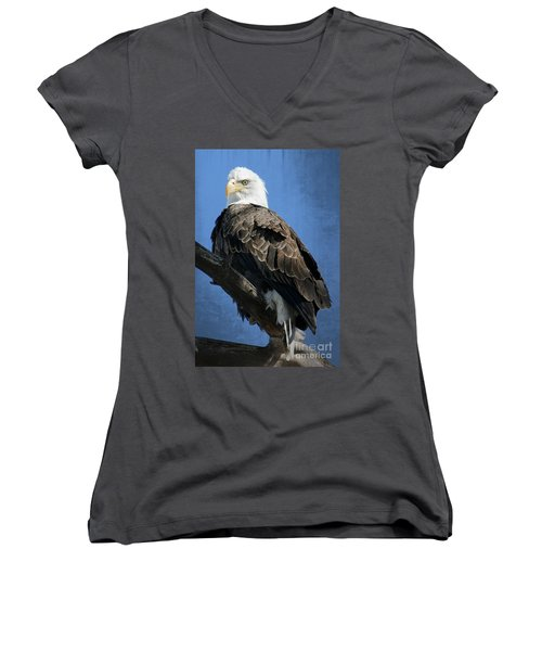Eagle Eye Women's V-Neck T-Shirt (Junior Cut) by Bob Hislop
