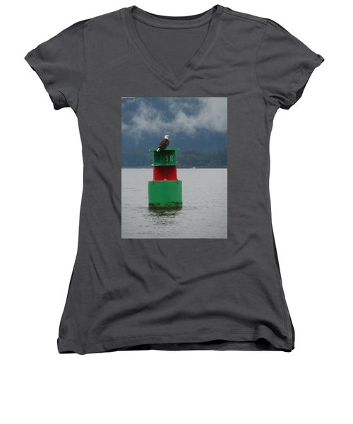 Eagle On Bouy Women's V-Neck