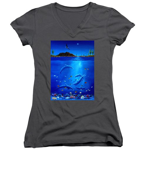 Women's V-Neck T-Shirt (Junior Cut) featuring the painting Eagle Over Dolphins by Lance Headlee