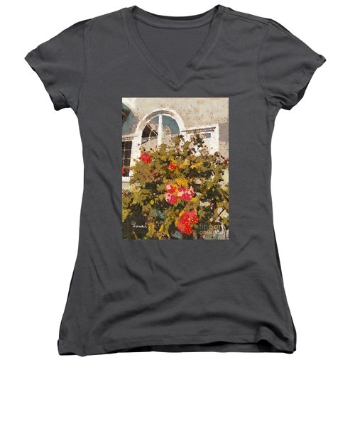 Women's V-Neck T-Shirt (Junior Cut) featuring the photograph Alameda Roses by Linda Weinstock