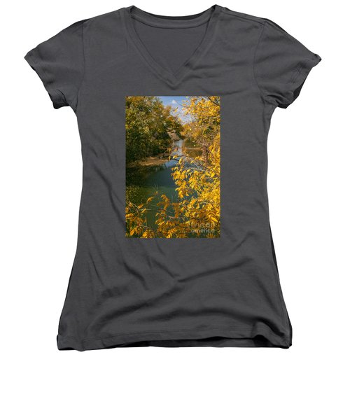 Early Fall On The Navasota Women's V-Neck T-Shirt