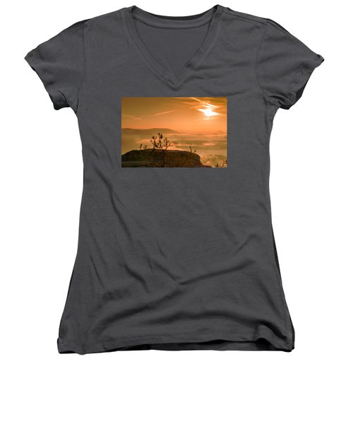 Early Morning On The Lilienstein Women's V-Neck